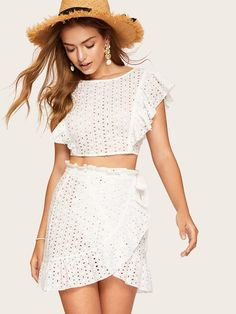 a4b865e70bd Lace Eyelet Ruffle Knot Top & Wrap Belted Skirt Set