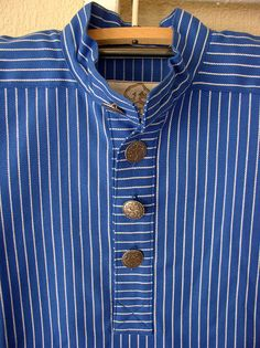 Norwegian Work Shirt - Busserull - Blue & White Stripes with Pewter Buttons Scandinavian Festival, Nape Of Neck, Work Shirts, Pattern Making, Black Stripes, Pewter, Norway, Cotton Fabric, Men's Fashion