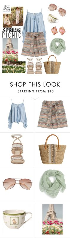 """Spring Picnic"" by kathrynandes ❤ liked on Polyvore featuring Sans Souci, River Island, Nine West, Skemo, H&M and Alexander McQueen"