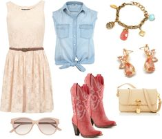 Edgy Summer Outfit Idea - Off white lace dress with a coral pink cowboy boots and a charm bracelet to match.