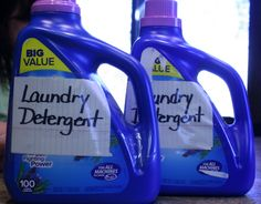 homemade laundry detergent--Okay, this recipe breaks it down to a smaller batch (2 gallons) of liquid detergent for your HE washer...