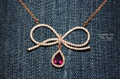 Romantic Diamond Bow with Roby Pear Drop Necklace by SillyShiny,