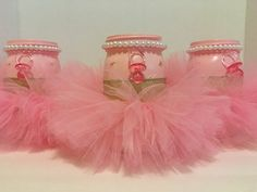 It's a GIRL Baby Shower CenterpieceSet of 3 by MonisMasonCreations
