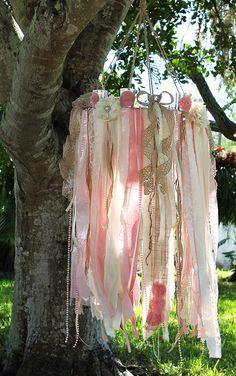 Pink Chandelier//Ribbon Chandelier//Wedding Chandelier//Pink Wedding Decor//Mercury Glass Votive//Pink Wedding Decor//Shabby Chic Wedding by SeriouslyCindyrella on Etsy https://www.etsy.com/listing/210233836/pink-chandelierribbon-chandelierwedding