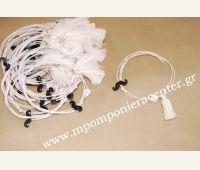 Μαρτυρικό βραχιόλι με μουστάκι σε μαύρο, λευκό σταυρό, λευκό κορδόνι & φουντίτσα
