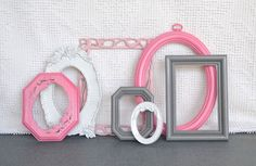Pinks, Grey White Small Frames Set of 7 - Upcycled Painted Ornate Frames Girls or Nursery bedroom decor