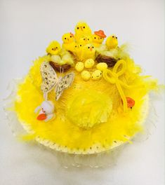 Easter Bonnet Hat Ready Decorated Handmade Yellow Girls School Easter Parade, Egg Hunt Party Easter Chicks Butterfly's Flowers and Bunnys
