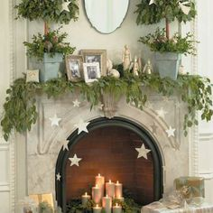 Quick and Easy Homemade Christmas Decorations - Festive Mantel - Click pic for 25 Inexpensive Christmas Decor Ideas