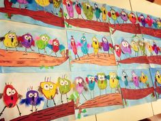 Spring birds kids craft elementary art, listening activities, owl babies, p First Grade Art, 2nd Grade Art, Second Grade, Kindergarten Art Projects, School Art Projects, Arte Elemental, Spring Art Projects, Spring Crafts, Spring Birds