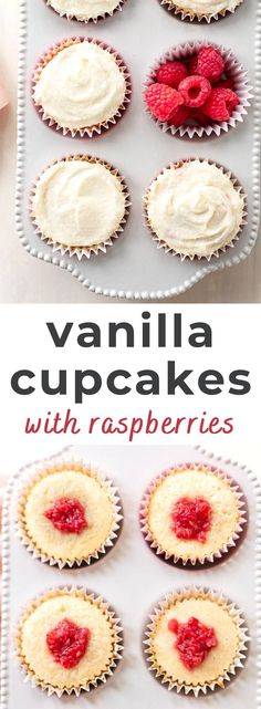 The best moist vanilla cupcakes! Fill them with fresh raspberries and top with buttermilk buttercream frosting for an easy, elegant treat. Frosting Recipes, Buttercream Frosting, Cupcake Recipes, Cupcake Cakes, Dessert Recipes, Breakfast Recipes, Dinner Recipes, Easy Gluten Free Desserts, Homemade Desserts