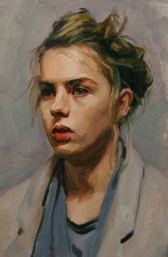 """Lotti"" - Louis Smith, oil on canvas {blonde female head woman face portrait cropped painting} louissmithart.com"