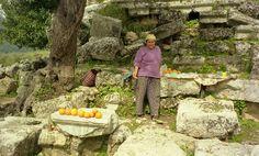 Selling fresh orange jiuce in the ruins. Turkey 2000