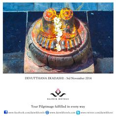 DEVUTTHANA EKADASHI. 3rd NOVEMBER  Also called Prabodhini Ekadashi this day of fasting and prayers falls on the eleventh day of the shukla paksha of the month of Kartik. It marks the end of chaturmasa, the four months that Lord Vishnu is said to be asleep. Devotees eat only once during the day and chant the Vishnu Sahasranaam, the hundred names of the god.