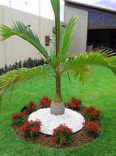 Front Yard Garden Design, Front Garden Landscape, Front Yard Landscaping, Landscape Design, Landscaping Ideas, Mulch Landscaping, Landscape Bricks, Florida Landscaping, House Landscape