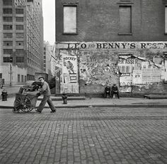 """March 1943. New York. """"A street cleaner on Washington Street."""" Medium format negative by John Vachon for the Office of War Information. via shorpy.com"""