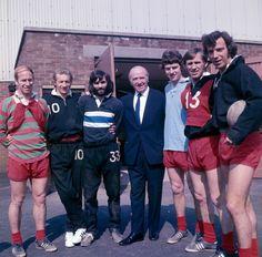 Manchester United, 1971: Bobby Charlton, Denis Law, George Best, Matt Busby, Brian Kidd, Pat Crerand and David Sadler.