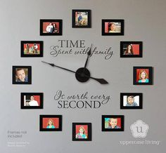 "Our most popular item - gone viral!  Makes a great gift. ""Time spent with family is worth every second"". Frame your favorite snapshots & voila…you'll have a conversation piece that is totally ""YOU-nique""!!  ""Time spent with family"" Clock Kit (Item # 20982, $44.95-see new photo on UL site) Vinyl only (Item # 20983, $24.95). Approximately 36"" to 40"" total; frame sizes shown are 3""x5"" and 4""x4"". Frames not included. Click photo to order. #uppercaseliving #clock #TimeSpentwithFamily"