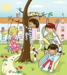 Little Village Park People Illustration, Illustration Art, Yoga Jobs, 4th Grade Art, Baby Art, Fun Activities, Kids Playing, Cute Art, Illustrators