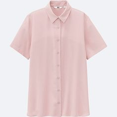 WOMEN RAYON SHORT SLEEVE BLOUSE, PINK, large
