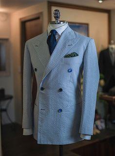 Double Breasted by B&Tailor seersucker, elegant jacket