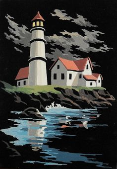 Vintage Paint by Numbers Lighthouse Painted on Black Velvet | eBay