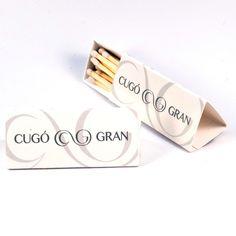 "Cajas de cerillas modelo ""Triangle"" realizadas para Cugó Gran Hotel en Menorca. Pantone, Place Cards, Place Card Holders, Model, Match Boxes, Natural Wood, Advertising"