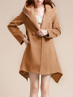 SheIn offers Green Long Sleeve Contrast Hooded Asymmetric Coat   more to fit  your fashionable needs. c77006c01439
