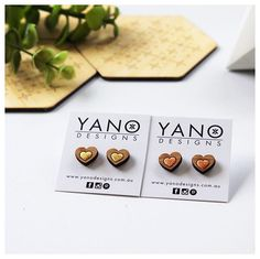 💕Looking for a Mother's Day gift idea? 💕 What about our laser cut & foiled heart💛shaped bamboo stud earrings with hypoallergenic surgical steel. Available to purchase at @thelittleshopofcreators, @thehandmademarketplace_ and for this weekend only @cpsartshow's gift shop! 📷 by @k_bloves