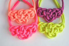 4 COLORS / Neon Color Bowtie Knot Collar Necklace Statement Necklace . neon pink . berry purple. $20.00, via Etsy.