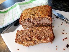 An Irresistible Gluten Free Banana Bread Recipe. 3 cups almond meal/flour 2 large ripe bananas 2 large eggs 1/4 cup coconut oil 1/4 cup honey 1/4 cup 100% pure maple syrup 1 tsp vanilla extract 1 tsp baking powder 1 tsp cinnamon 1/4 tsp nutmeg 1/2 tsp sea salt