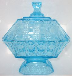 EAPG 1885 Adams & Co.Valencia Waffle Ice Blue Candy Low Lid Compote