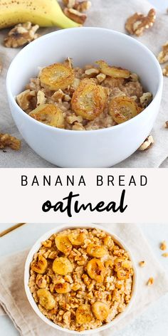 Gluten-free, #vegan #banana bread oatmeal that tastes like the real deal. Get fancy (ok not that fancy, they're super simple) and add some caramelized bananas and toasted #walnuts on top for a delicious breakfast!  #glutenfree #oatmeal #bananaoatmeal #bananabread #eatingbirdfood