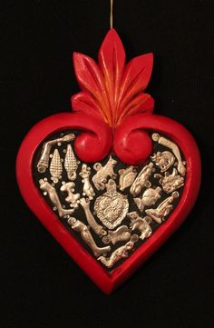 Hand Carved Red wood Heart with Milagros, Folk Art Michoacán Mexico, Love Token