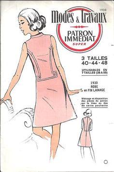 PATRON MODES ET TRAVAUX ROBE FEMME VINTAGE TAILLE 40 44 48