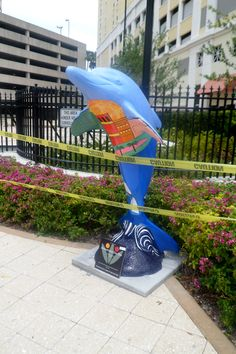 Downtown Dee Dee dolphin, done by artist Haley Kukoleck, is located at Station Square Park at 612 Cleveland St., Clearwater.  This dolphin is one of 80 on the Clearwater's Dolphins Trail.