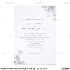 "Paper Petals Couple Inviting Wedding Invitation 5"" X 7"" Invitation Card  // floral"