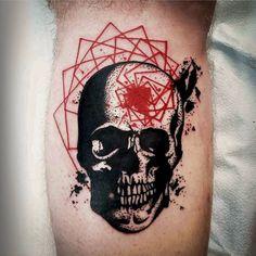"""#dotwork skull and red #geometry by @rekablisstattoo #toronto #torontotattooartist #geometrics #dottattoo #blackandred #torontodowntown #queenwest…"""