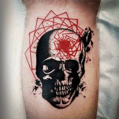 """#dotwork skull and red #geometry by @rekablisstattoo #toronto #torontotattooartist #geometrics #dottattoo #blackandred #torontodowntown #queenwest…"""