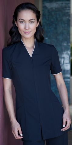 Ladies Pravia Zipper Front with Piping Spa Tunic Salon Uniform, Spa Uniform, Hotel Uniform, Scrubs Uniform, Maid Uniform, Uniform Dress, Chef Dress, Salon Wear, Housekeeping Uniform