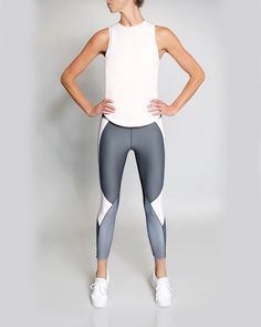 VIE ACTIVE Whitney 7/8 Wraparound Panel Legging, Charcoal With Blush And Slate. #vieactive #cloth #