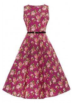 Vintage Hepburn Dress - Berry Floral