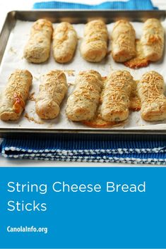 Easy to grab for school lunches, snacks on-the-go or a busy night of children's activities. Snacks, Snack Recipes, String Cheese, Cheese Bread, Dry Yeast, Test Kitchen, Hot Dog Buns, Food Processor Recipes, Workplace Wellness