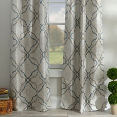 Living room option.  Grand Manor Gray Curtain Panel Set, 84 in.   Kirklands