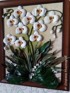 "Картина из кожи "" орхидеи"""