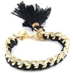 Tassel Your Heart in Black Leather Bracelet - Ettika
