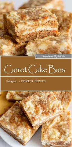 Carrot Cake Bars - These carrot cake bars are so moist and delicious! They have a sprinkle of cinnamon and a cheesecake swirl in them. They're the perfect Easter dessert bars. Sugar Free Carrot Cake, Carrot Cake Bars, Dessert Simple, Easy Desserts, Dessert Recipes, Cookie Recipes, Tray Bake Recipes, Cake Tray, Ketogenic Desserts
