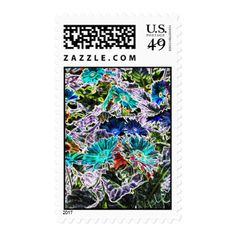 Asters Flowers with Neon Outlines Abstract Art Postage - photography gifts diy custom unique special