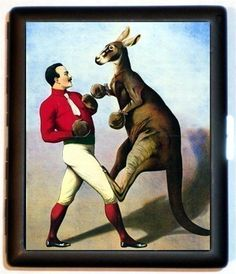 Man boxing a Kangaroo Classic Circus sideshow imagery retro kitsch New Cigarette Case or Business or ID Case Wallet Old Circus, Circus Art, Vintage Circus Posters, Vintage Travel Posters, Circo Vintage, Vintage Box, Sideshow, Illustrations, Vintage Advertisements