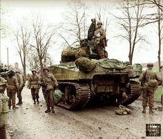 "A Sherman tank of the Armored Regiment, Armored Division, probably during the offensive in the province of North Rhine-Westphalia; April (Note the writing on the hull; ""I'll (we'll) be seeing you"") (Photo source Time Magazine) Ww2 Pictures, Ww2 Photos, Photographs, Ww2 History, Military History, Colorized History, Sherman Tank, Military Armor, Tank Destroyer"