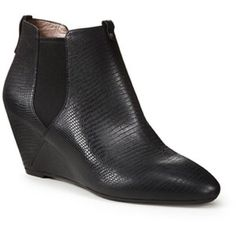 """DKNY """"georgia"""" wedge ankle bootie / black leather DKNY black embossed leather ankle bootie. Pull-on style, elastic on top sides. Wedge heel, 2"""". Gently worn! DKNY Shoes Ankle Boots & Booties"""
